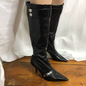 Enzo Angiolini Black Pointed Toe Boots.
